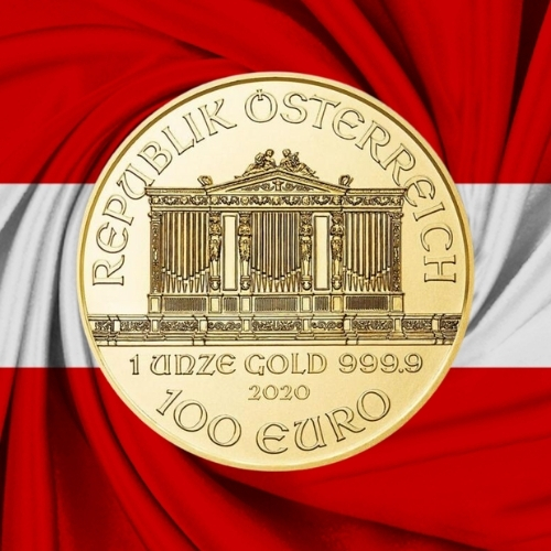 1 oz Austrian Philharmonic gold coin obverse on Austrian flag