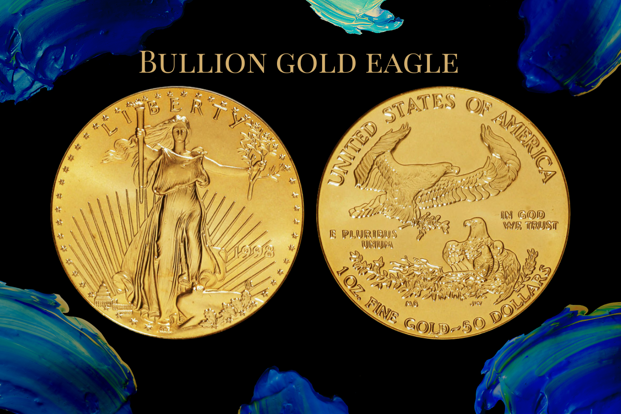 1998 bullion gold with blue background of numismatic traders