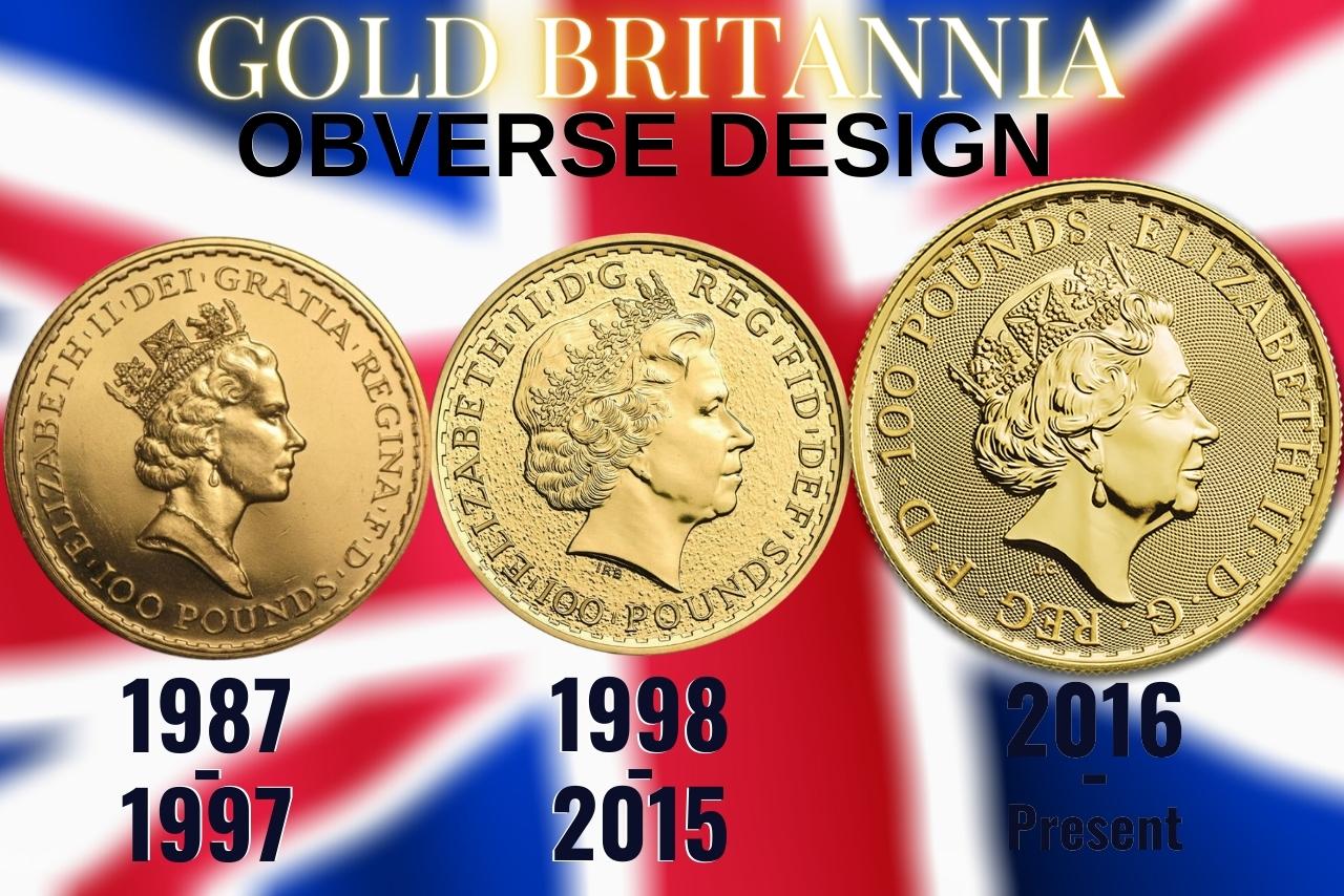 Gold Britannia Coins 1 oz obverse designs