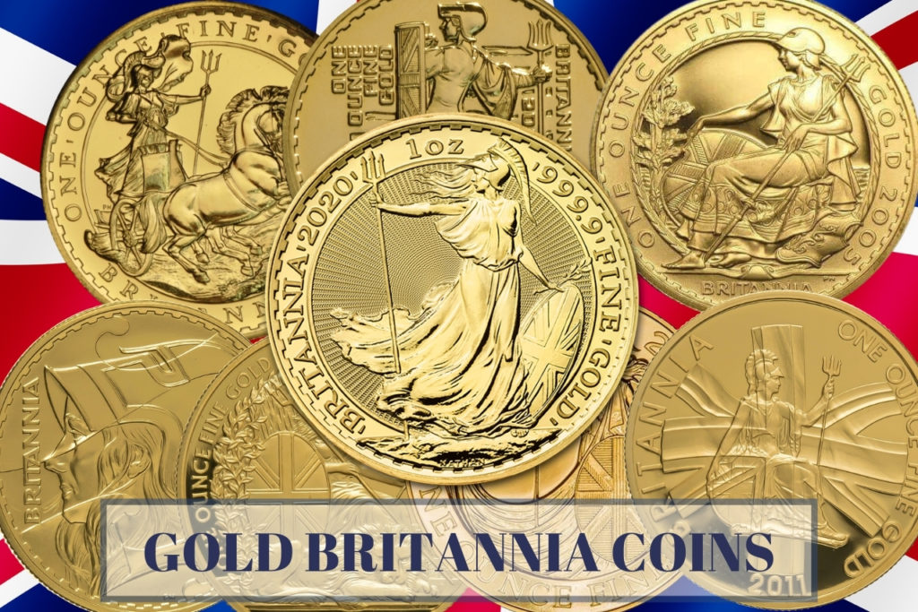gold britannia coins various designs on union jack