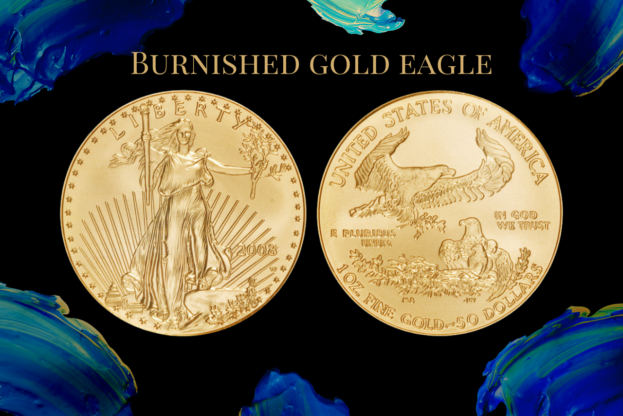 burnished gold eagle on blue numismatic traders background