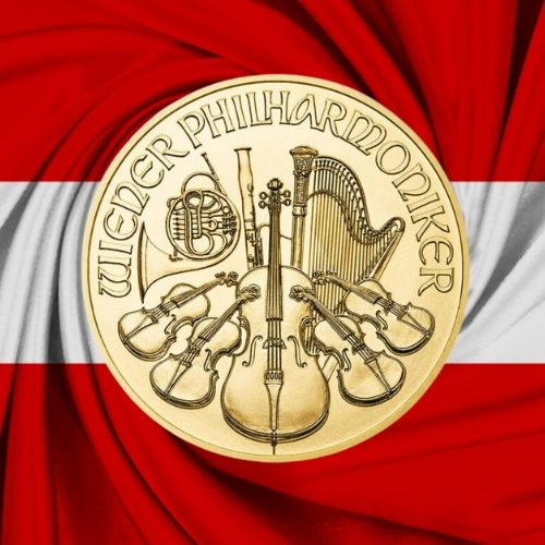 1 oz Austrian Philharmonic gold coin reverse on Austrian flag