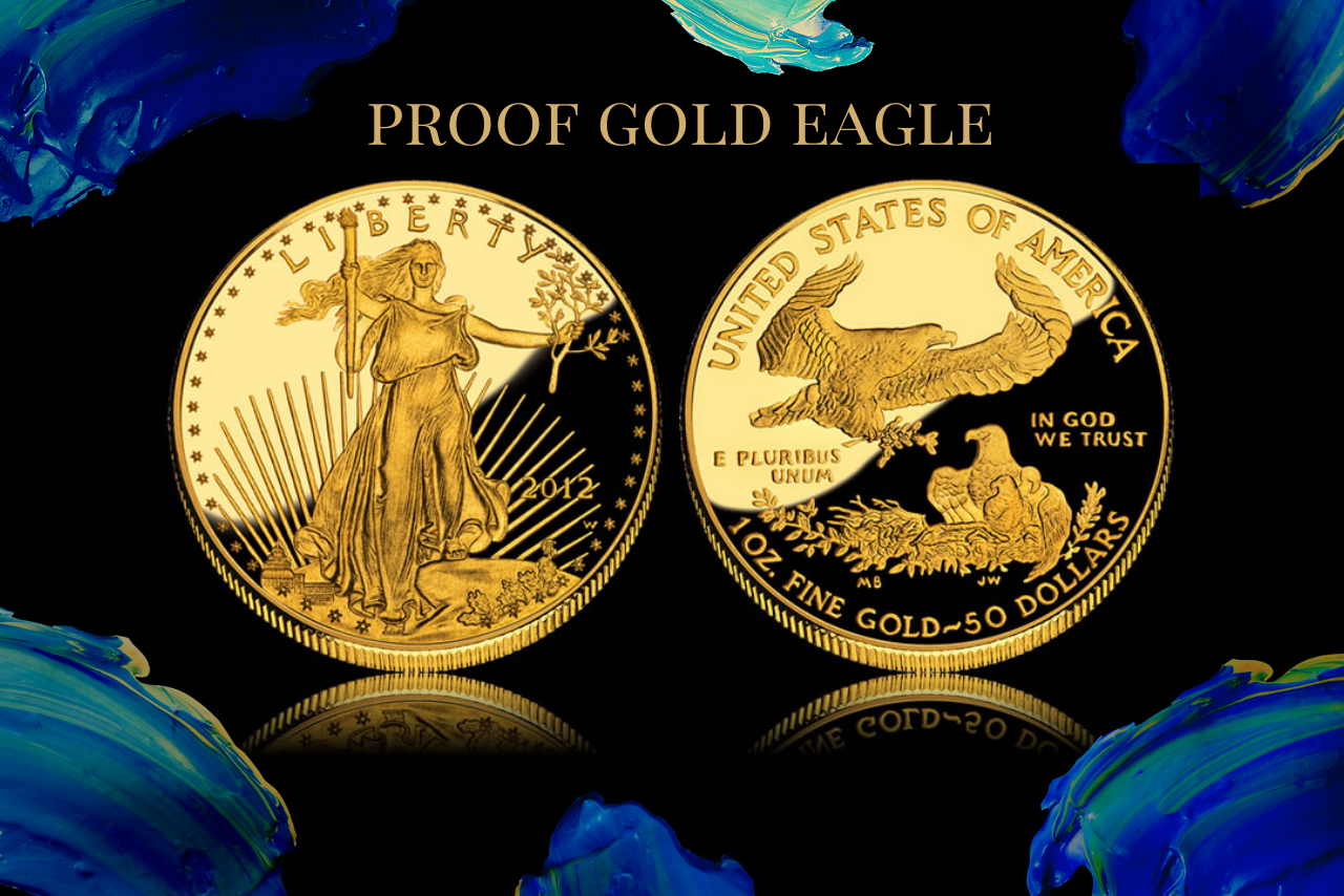 proof gold eagle on numismatic traders background