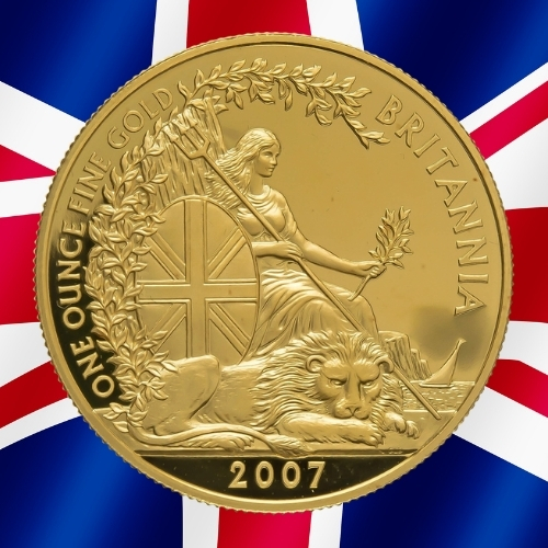 Gold Britannia Coins - Wreath Britannia 1 oz gold coin 2007