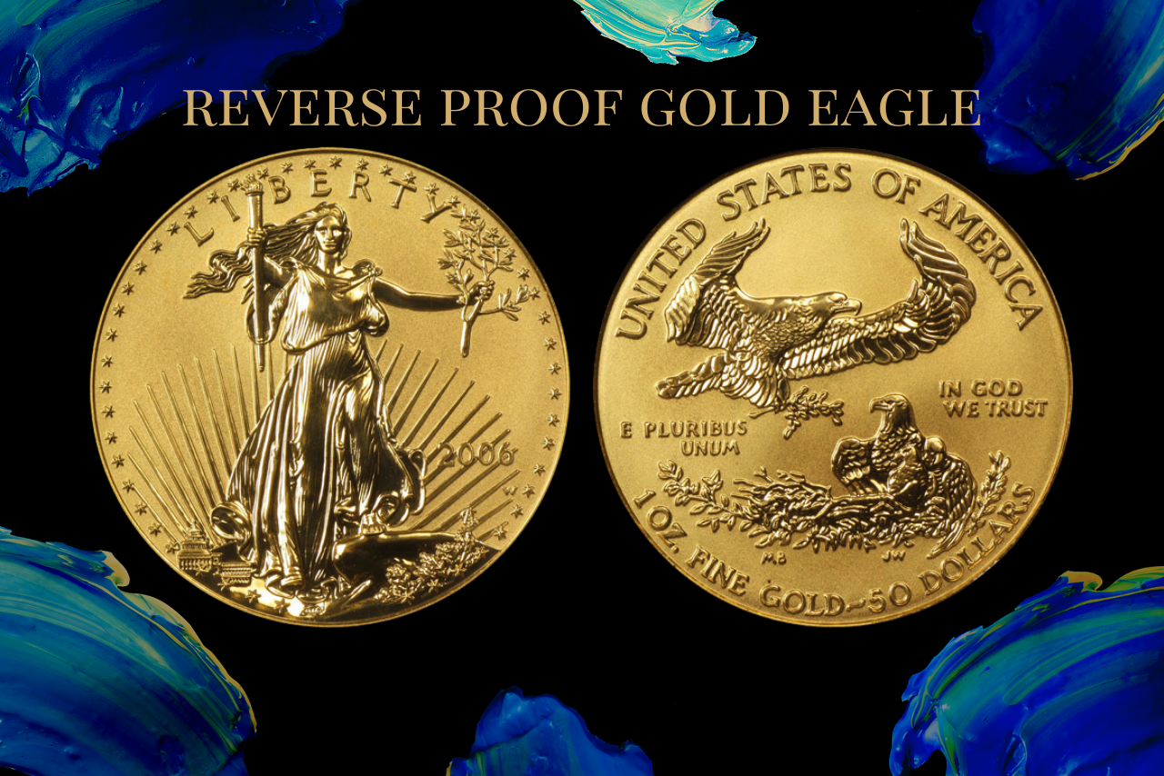 reverse proof gold eagle on numismatic traders background