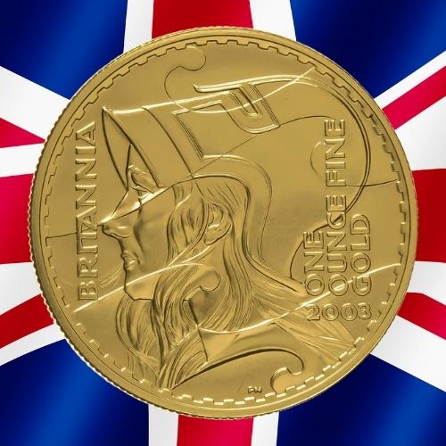 Gold Britannia Coins - Britannia wearing a helmet 1 oz gold coin 2003