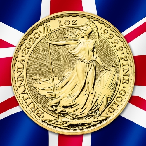 Gold Britannia Coins - 2020 1 oz gold standing Britannia with union jack flag