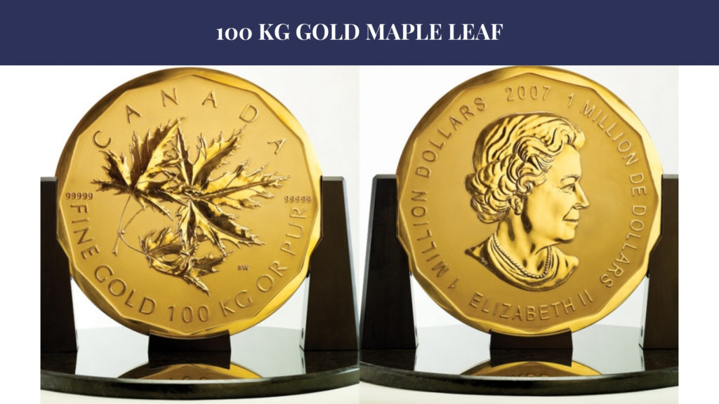 100 kg gold maple leaf coin