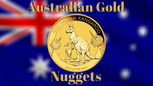 Australian gold nuggets coin with flag background