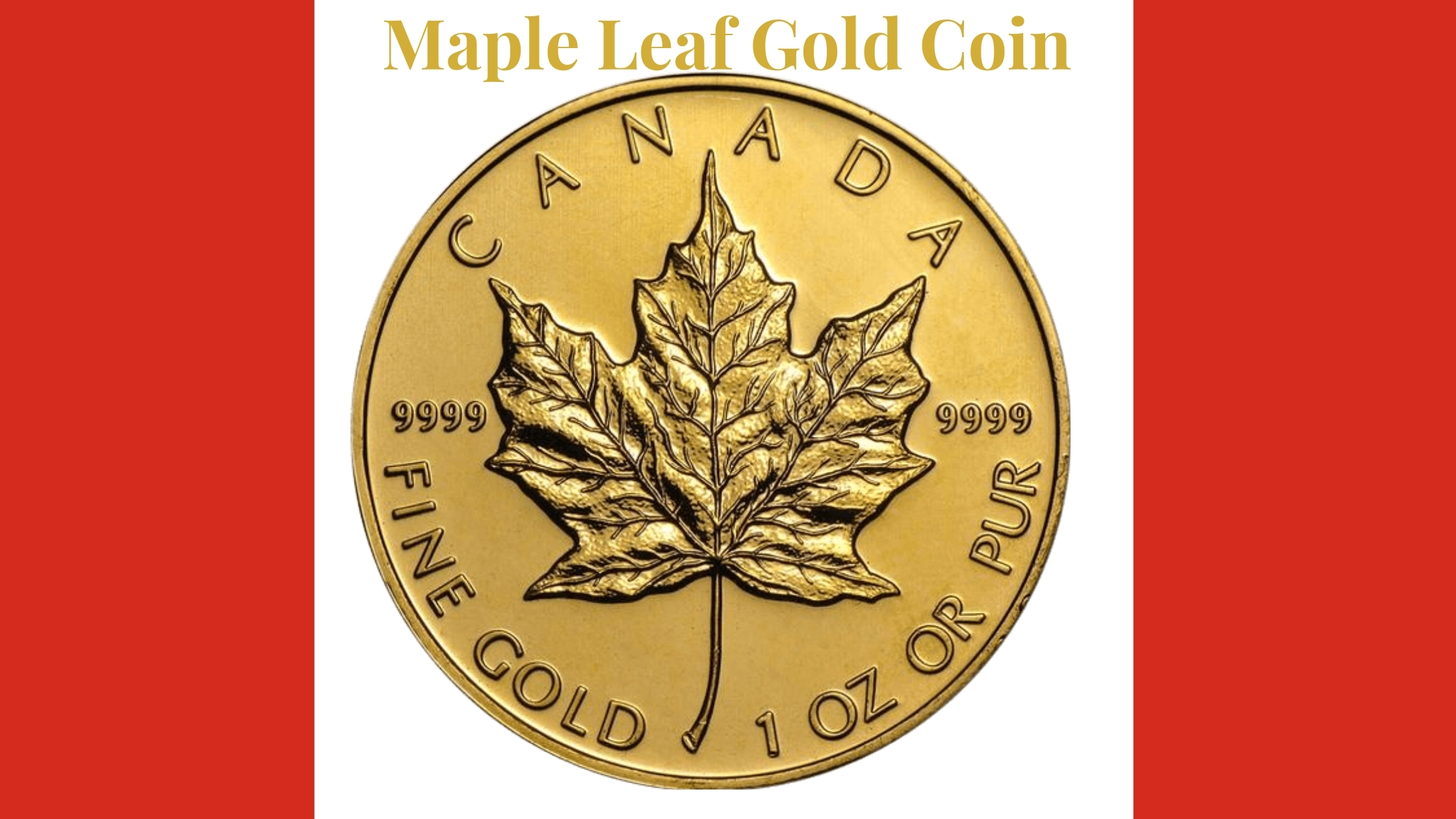Maple Leaf gold coin on Canadian flag