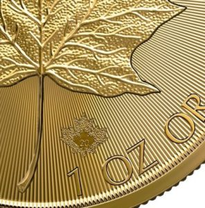 Maple Leaf gold coin micro engraved maple leaf