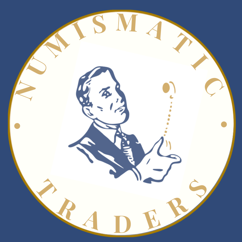 numismatic traders logo blue & gold